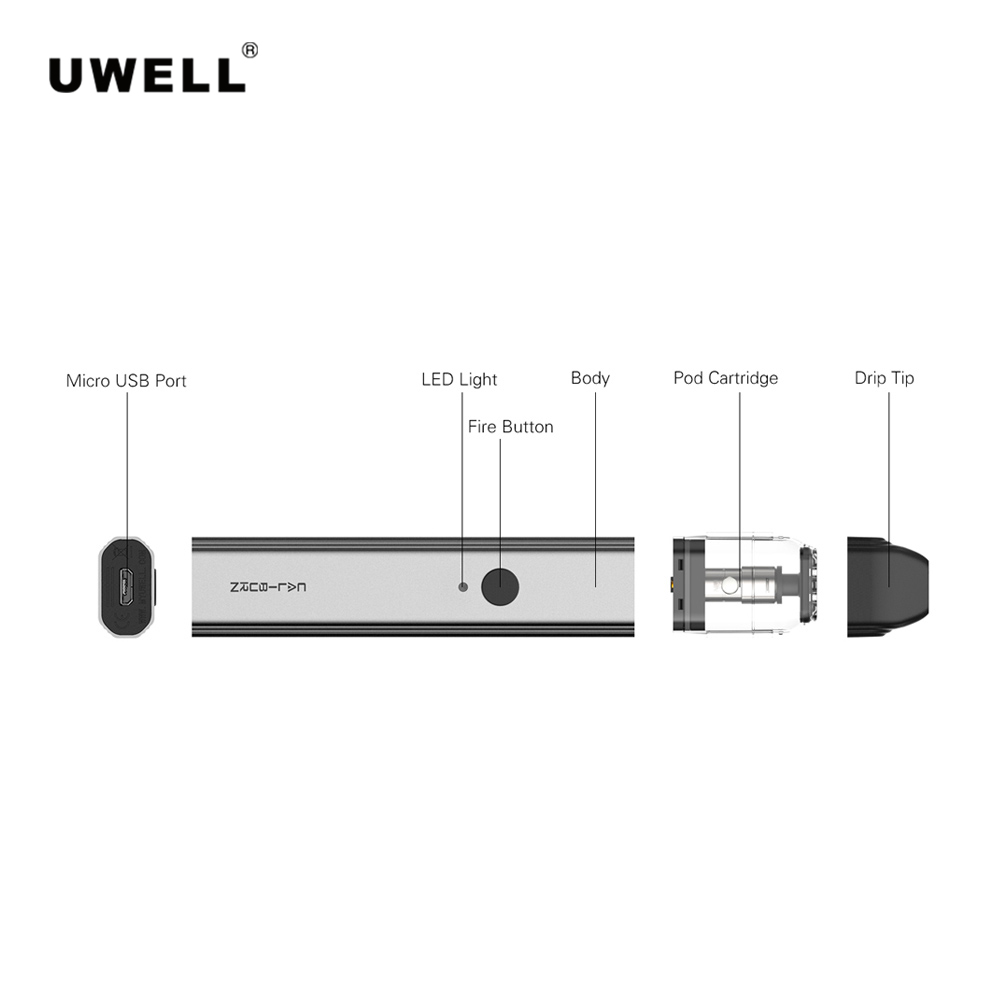 Newest Original UWELL Caliburn Portable System Kit 2ml Pod Cartridge Built In 520mah Battery Vape Tank Atomizer E Cigarette