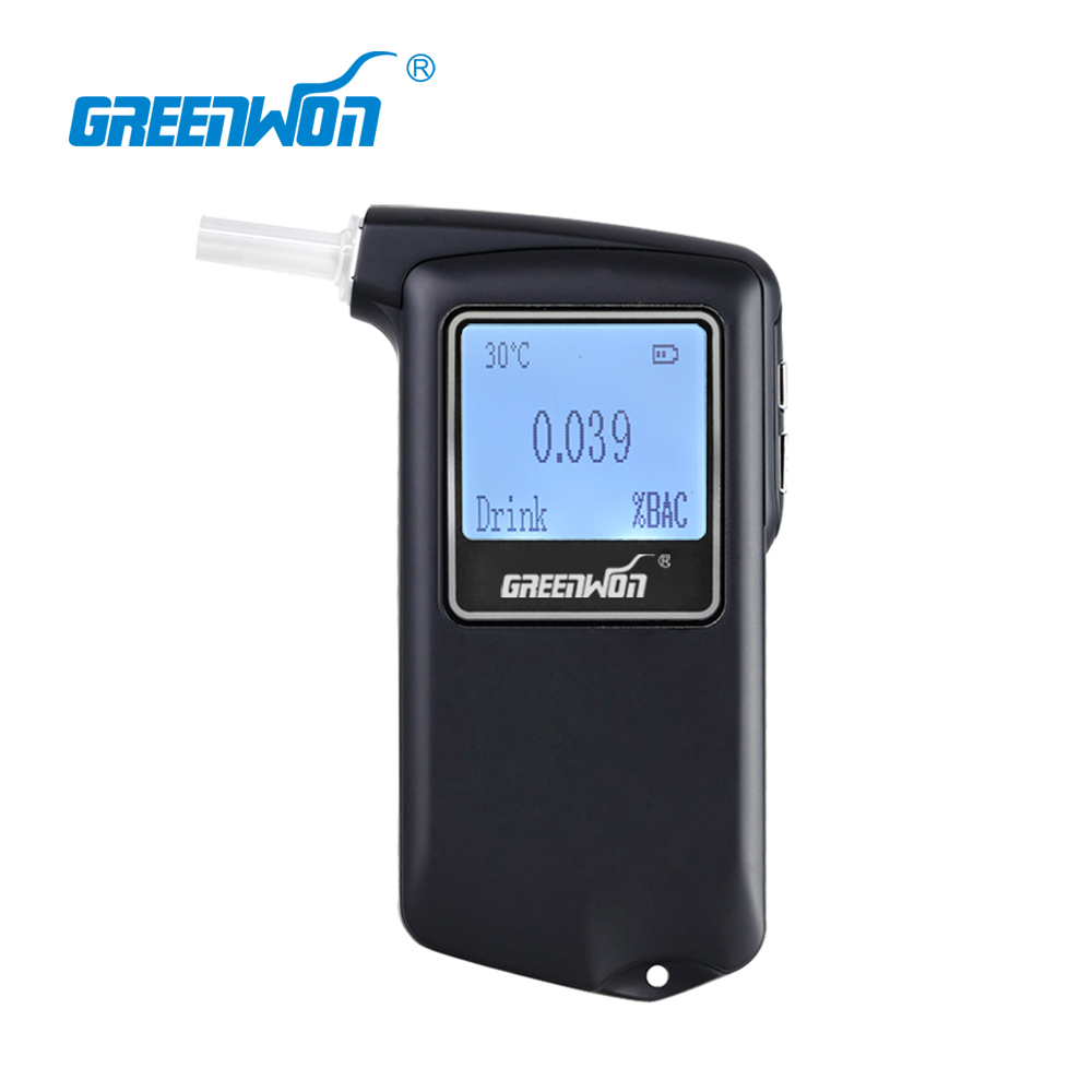 GREENWON Newest high Accuracy Prefessional Police Digital Breath Alcohol Tester Breathalyzer AT-868F 100% brand new abs material black color digital keychain breathalyzer fit alcohol tester with red backlight pft68s