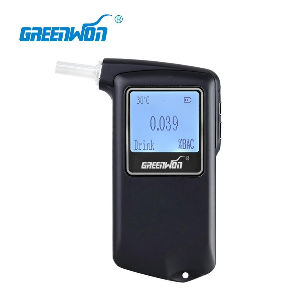GREENWON Newest high Accuracy Prefessional Police Digital Breath Alcohol Tester Breathalyzer AT-868F at11 breath alcohol tester portable measuring instrument wine black
