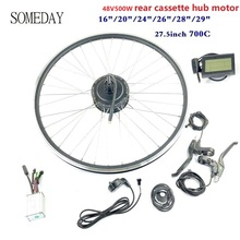 цена на SOMEDAY Electric Bicycle conversion kit with LCD3 display 48V500W E-BIKE Rear Cassette Brushless Gear Motor with spoke and rim