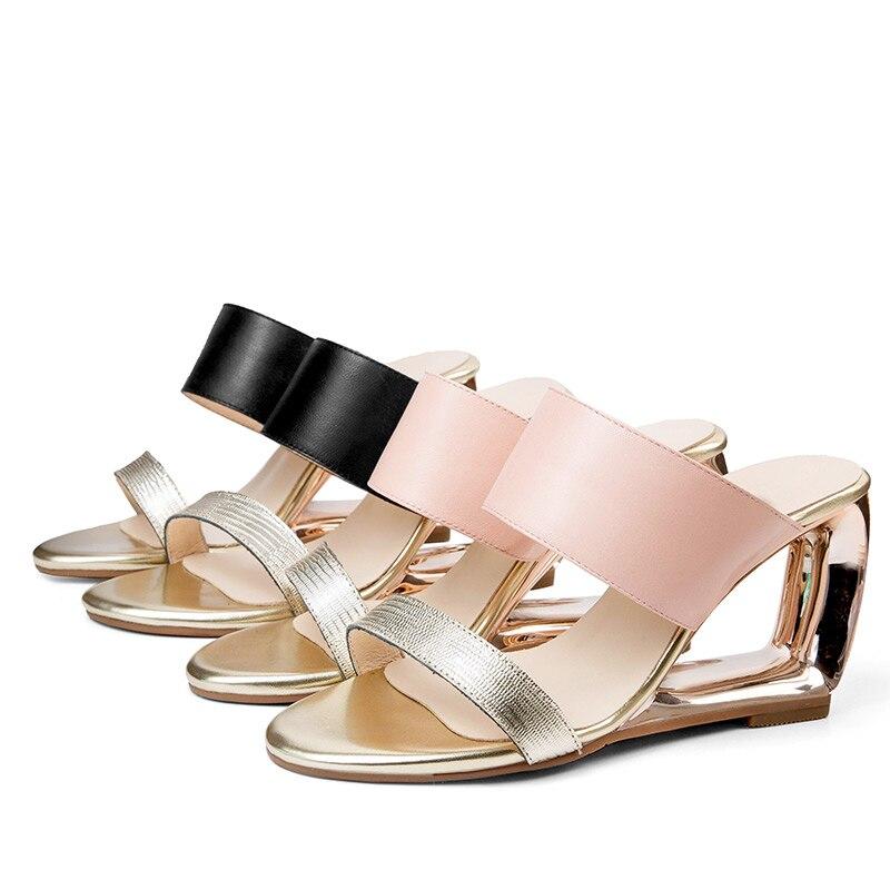 Baiser rose Diapositives Dames Mouillé New Cuir Femmes Mules Style Noir Véritable Inhabituel Pantoufles Talons 2019 Chaussures En Or Hauts Étrange De Summer 1Fq1x0rO