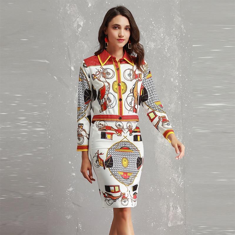 2018 Mince Jupes Pièces Complet Assez Haute Turn Shirts Mode Manches Costumes Automne Femmes down Ensembles 2 Collar Qualité Imprimer BqTrBw