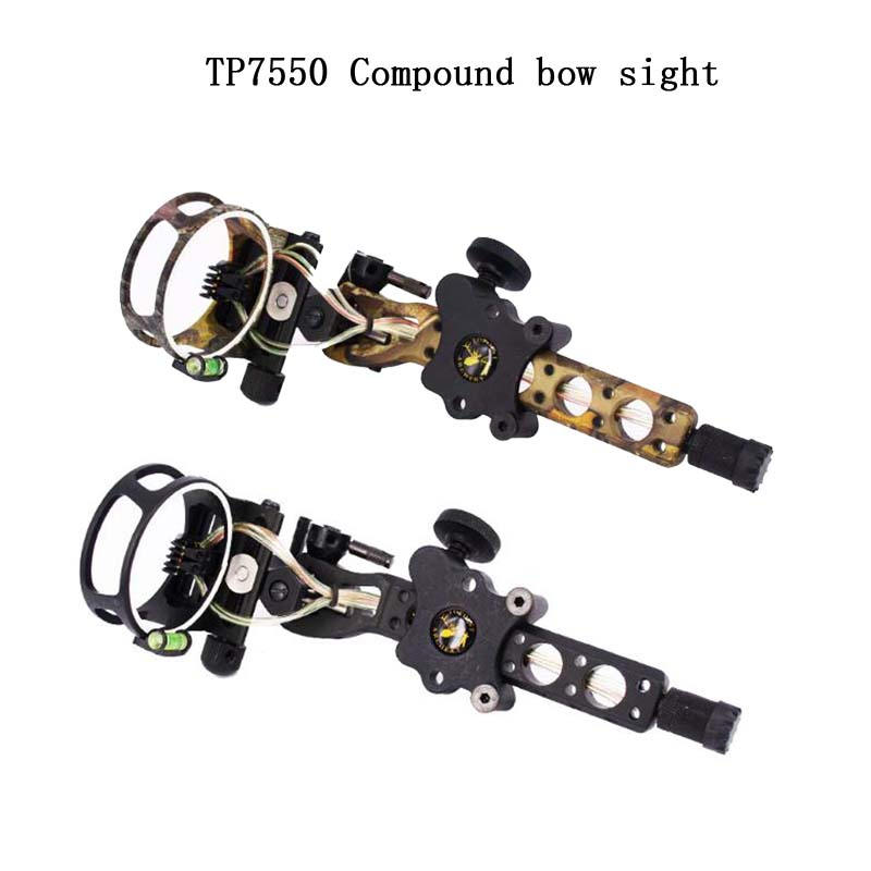 1pc Archery Compound Bow Sight 5Pins 0.019Micro adjust Bow Sight Detachable Bracket For Both Right /Left Hand Compound Bow