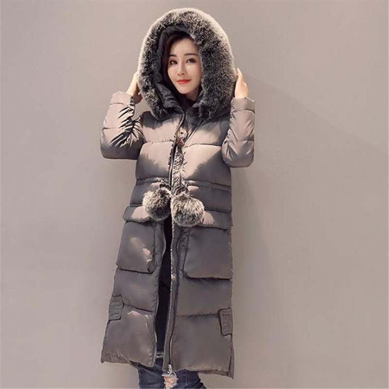 Thick Cotton Padded Faux Fur Collar Hooded Jacket Women Manteau Femme Solid Color Casual Overcoat Warm Winter Jacket TT3499 bishe women winter down jacket warm long parka femme 2017 faux fur collar hooded cotton padded parkas female manteau femme 4xl