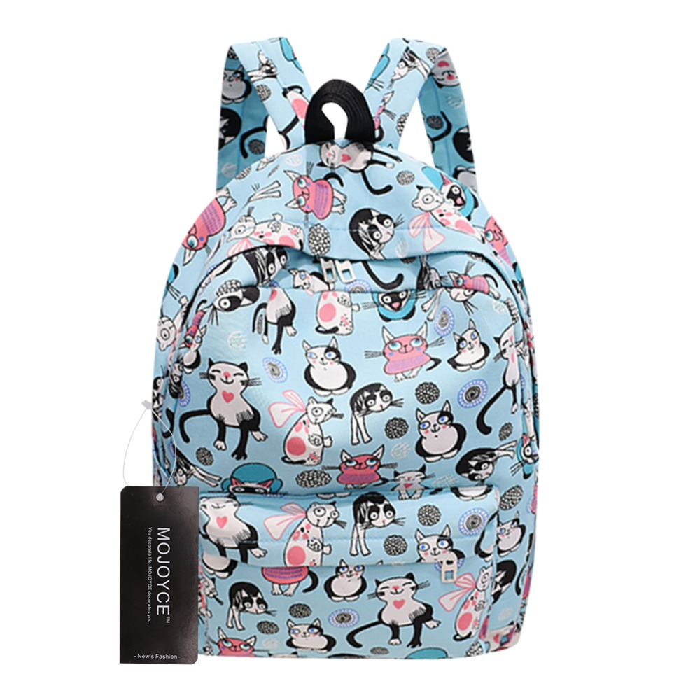 Women Cute Cat Printing Canvas Backpacks School Backpack for Teenagers Girls Rucksack Mochila Feminina Escolar 2017 canvas preppy backpack miyazaki hayao hot anime totoro mochila women backpacks students school bags for teenagers girls