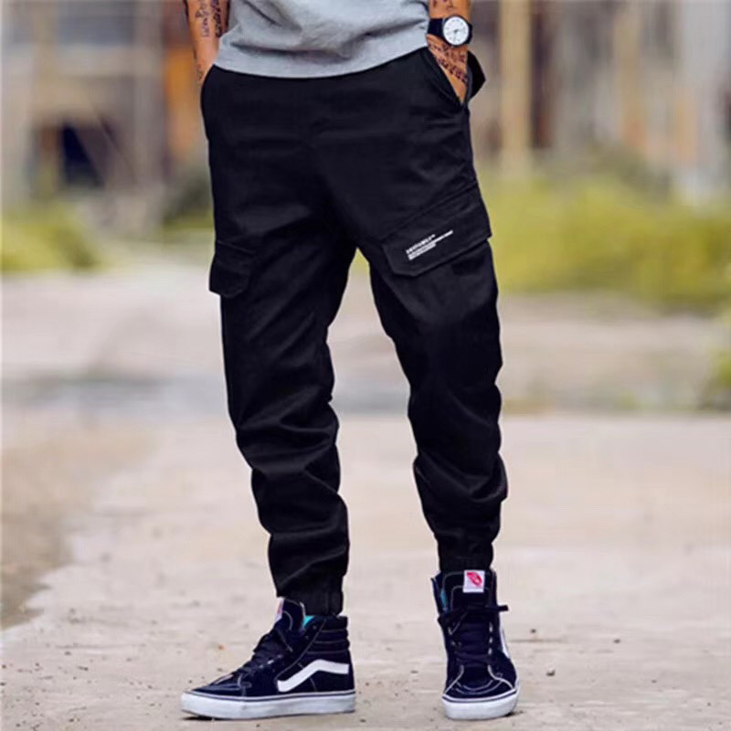 Japanese Vintage Fashion Men Jeans Loose Fit Multi Pockets Casual Cargo Pants Harem Trouser Streetwear Hip Hop Joggers Pants Men