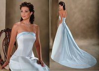 Gorgeous A line Strapless Wedding Dress,White and Sky blue Satin Designer Bridal Gowns