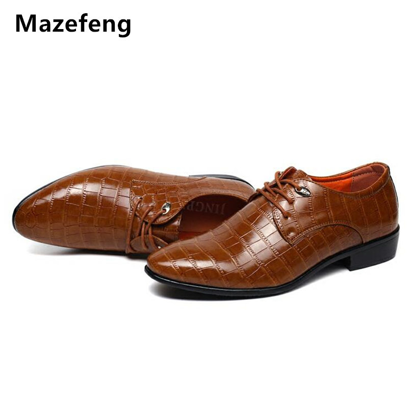 2018 Mazefeng Men Dress Shoes Pointed Toe Business Shoes Lace-Up  Flats Male Breathable Men Wedding shoes Men Formal Footwear new brand designer formal men dress shoes lace up business party oxfords shoes for men pointed toe brogues men s flats plus size