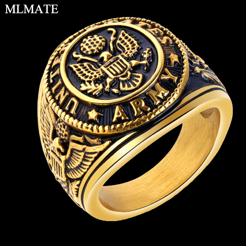 High Quality 316L Stainless Steel Round Windmill Patterned Men/'s Military Ring