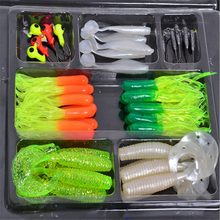 Hot ! ! ! 45pcs/box Soft Worm Soft Lure Fishing Baits 10 Lead Jig Head Hooks Simulation Lure Tackle Set Fishing Tools Tackle Box стоимость