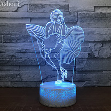 Marilyn Monroe 3D LED Night Light 7 Colors Changing Desk Table Lamp Bedroom Lighting Fixture Home Decor Christmas Gifts недорого