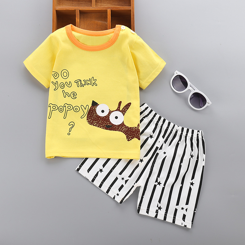 kids summer boys clothes set cotton Cartoon printing baby clothes 2pcs Set Casual short sleeve girls Boy Clothes for 1-4T Kids