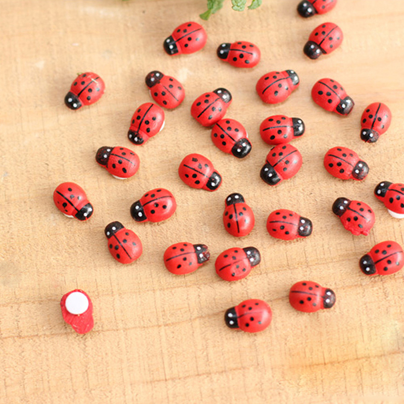 OOTDTY 50/100 Pcs Mini Ladybird Red Beetle Ladybug Fairy Doll House Garden Decor Ornament