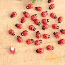 OOTDTY 50/100 Pcs Mini Ladybird Red Beetle Ladybug Fairy Doll House Garden Decor Ornament
