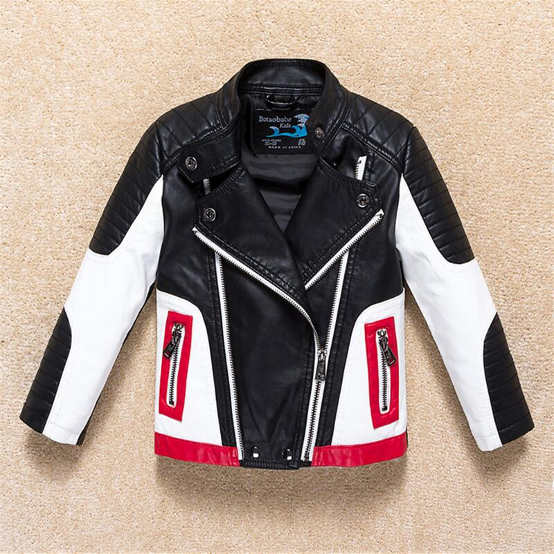 Boys Jacket Coat Kids Leather Jacket Children Spring Autumn Waterproof Windproof Coat Hit Color Stitching Locomotive Jacket