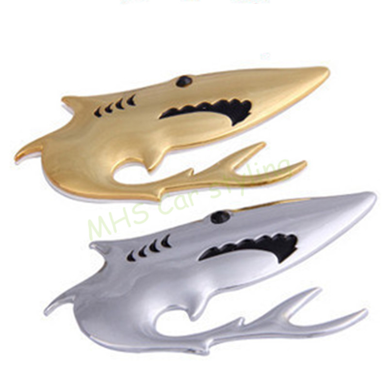 3D Chrome Golden Shark Metal Car Stickers Cute Shape Emblem Stainless Steel Car-covers Alloy Plating Decals Car-styling