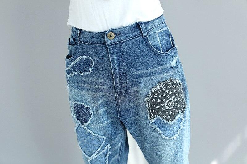 Printemps Automne Pleine Femmes 1 Imprimer Élastique Pantalon Pour La Déchiré Hip Hop Femme Taille Harem Plus Jeans Denim Nouveau 2018 Longueur XOq084w