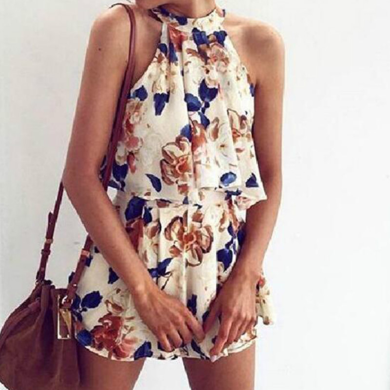 2 Pieces Set 2018 Summer Women Sets Sexy Lady Halter Sleeveless Cute Floral Printed S Fashion Tops &Shorts New
