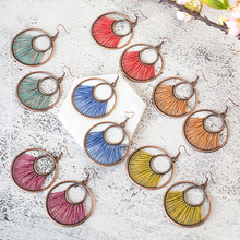 6 Colors Fiber String Vintage Round Dangle Hanging Boho Bohemian Ethnic Drop Earrings for Women Jewelry Accessories