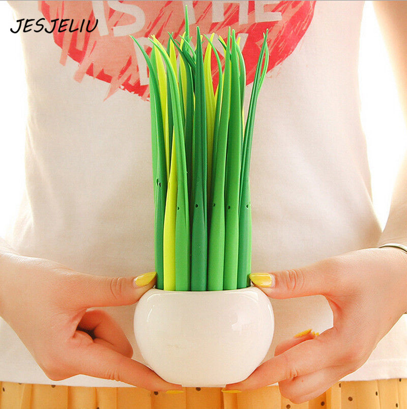 1PC Office Supplies Material Tiny Green Grass Ball Pen Blade Grass Ballpoint Pen Potting Decoration Zakka Stationery Caneta бра odeon light kupa 2875 1w