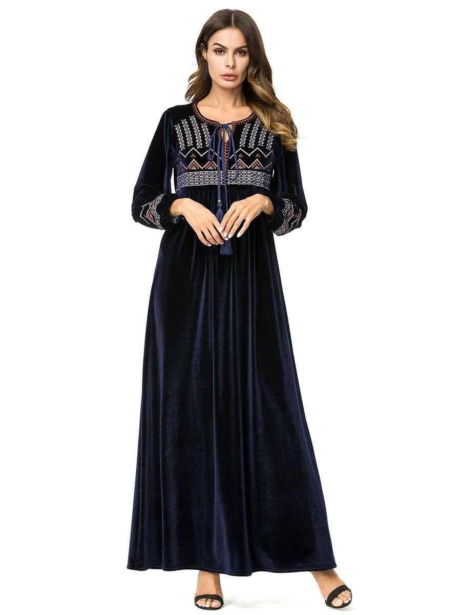 벨벳 abaya 드레스 이슬람 여성 긴 소매 따뜻한 겨울 kaftan 이슬람기도 긴 가운 느슨한 플러스 터키 두바이 의류 새로운