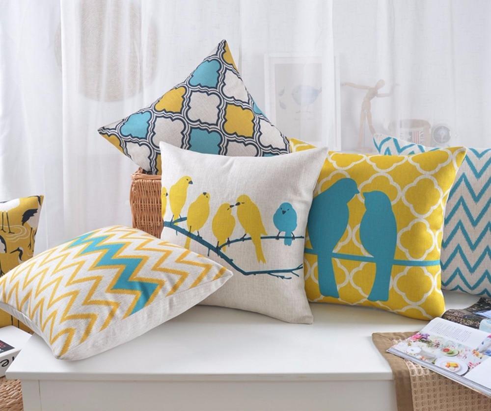 Geometric Decorative Pillows Case Bird Zig zag Yellow Blue Cushion ...