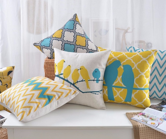 b078e1c5bcaed9 R$ 19.63 29% de desconto Zig zag geométrica Caso Almofadas Decorativas Do  Pássaro Amarelo Azul Escandinavo de Linho Capa de Almofada para o sofá ...