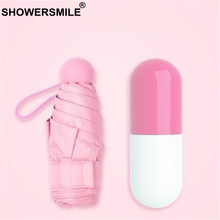 SHOWERSMILE Mini Capsule Pocket Umbrella Women Sun Rain Travel Pink Red Yellow Blue Ladies Uv Protection Parasol
