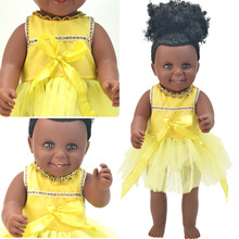 Brithday! שחור 17 אינץ 'תינוק נולד מחדש בובות לתינוק בונזה רפונזל סיליקון שמלה צעצועים בנות מתנות ילדים נולדים נתנאל