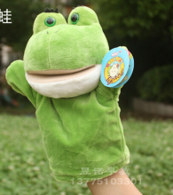 Story game toy 1pc 26cm cartoon new green frog hand puppets plush soft pacify educational stuffed baby infant gift