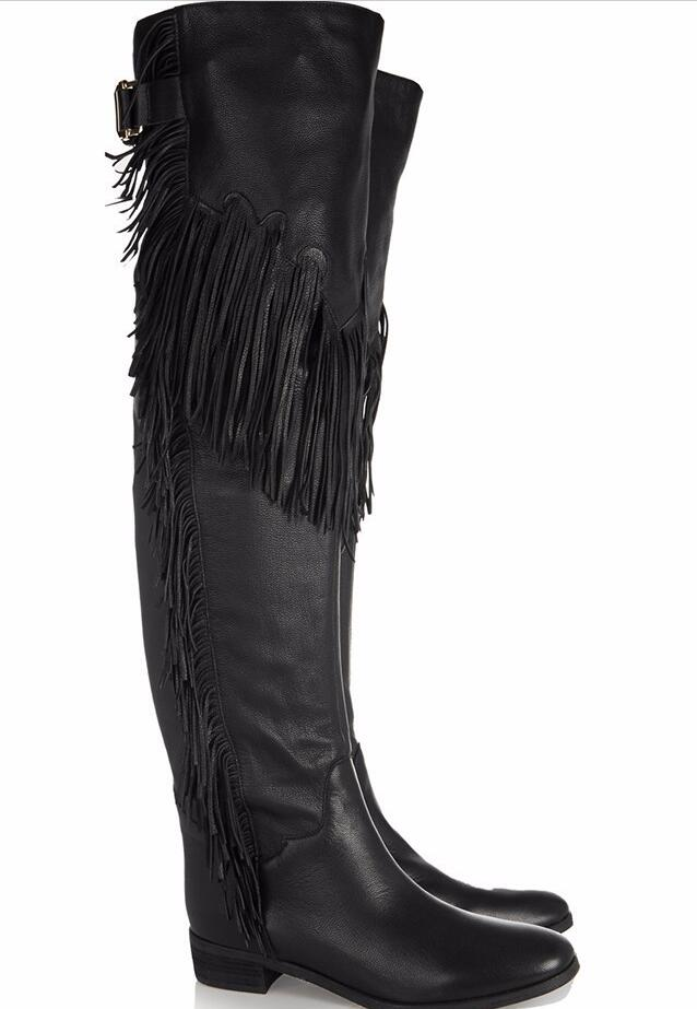 Hot Fashion Sweet Yellow Black PU Over The Knee Shoes Round Toe Flat With Women 39 s Shoes Fringe Big Size Europe 46 Women 39 s Boots in Over the Knee Boots from Shoes