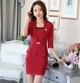 New Professional Estilo Negócio Desgaste do Trabalho Ternos Blazer E Vestido Formal Uniforme Escritório Senhoras Mulheres Moda Outfits Set S-4XL