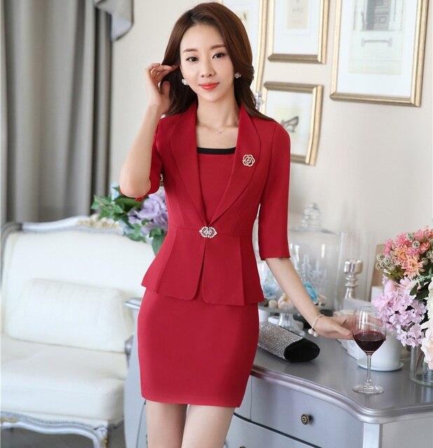 ff45b0e76 € 38.32 10% de DESCUENTO|Nuevo Profesional Formal uniforme estilo negocios  trabajo trajes Blazer y vestido señoras Oficina moda mujeres conjunto S ...