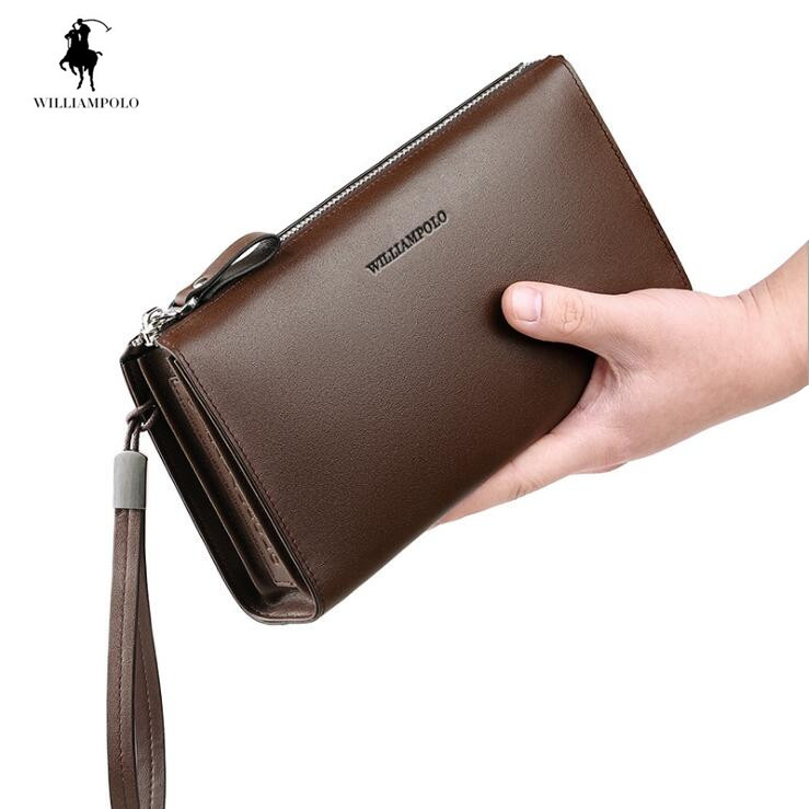WilliamPOLO Genuine Leather Men wallet Business Cowhide Card Holder Wallets Clutch bag Cion Purse williampolo mens mini wallet black purse card holder genuine leather slim wallet men small purse short bifold cowhide 2 fold bag