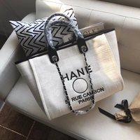 2019 new chain canvas fashion beach bag shoulder portable handbags shopping bag Mummy big bag