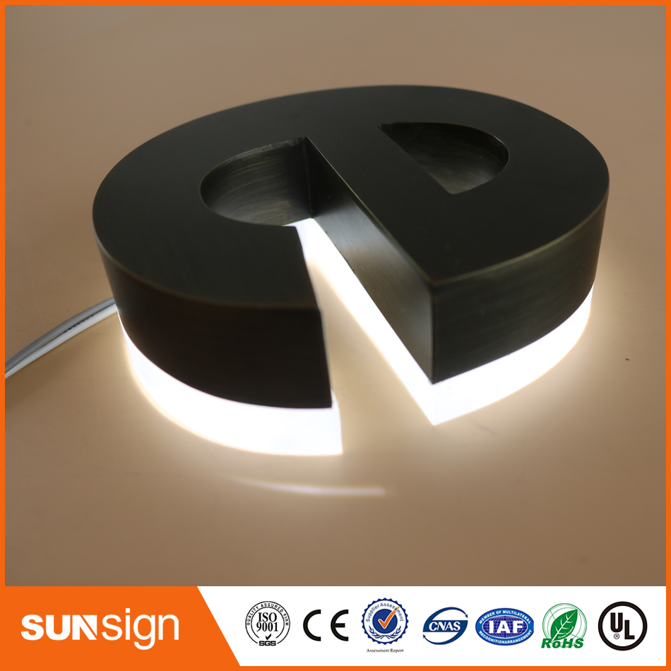 Waterproof LED Brushed Acrylic Material Led Backlit Letter Sign