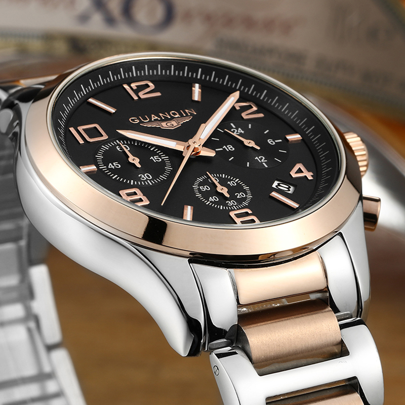 ФОТО relogio masculino 2016 GUANQIN Business Watches Men Chronograph Luminous Wristwatch Luxury Brand Stainless Steel Quartz Watch