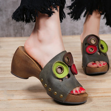 Vintage female slippers thick heel genuine leather sandals ladies fashion platform cool slippers 2017 candy color