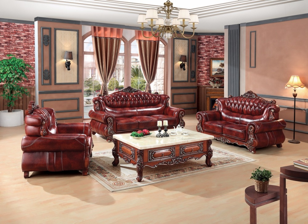 Luxury European Leather Sofa Set Living Room Sofa China Wooden Frame  Sectional Sofa 1+2+3