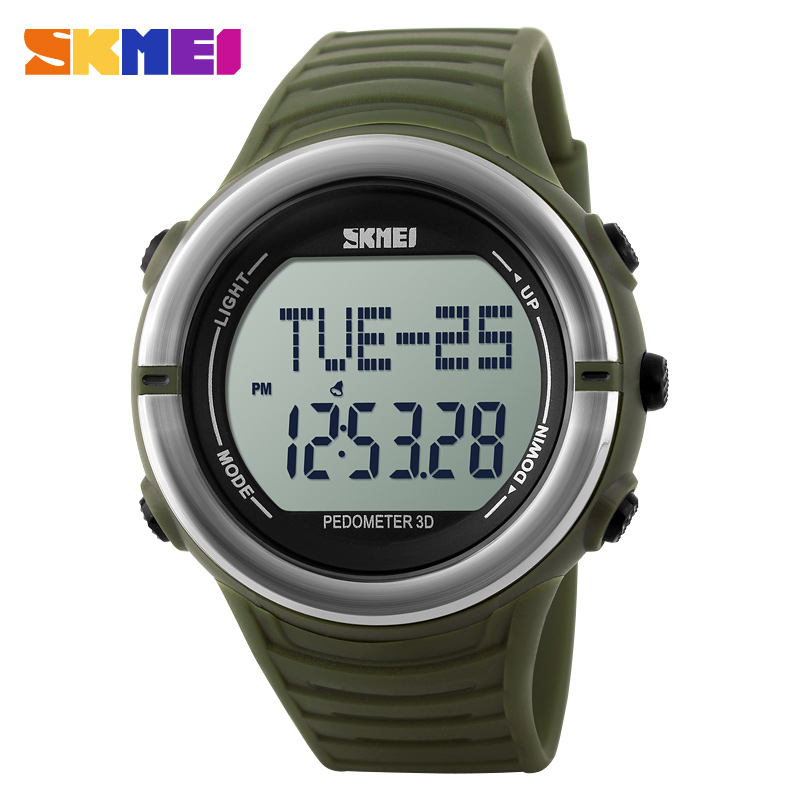 SKMEI 1111 Men Military Fashion Sports Watches Digital LED Pedometer Calories Running Wristwatch Rubber Strap 2016