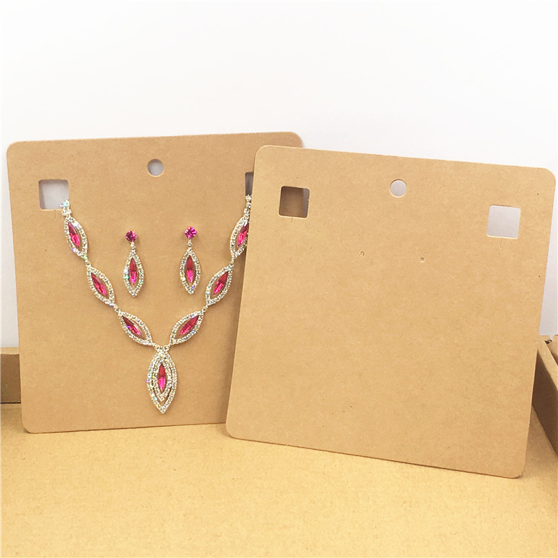 Big Size Kraft Paper Cardboard Necklace&Earring Displays Cards Fashion Jewelry Pendant Show Packaging Card 50Pcs 15x15cm