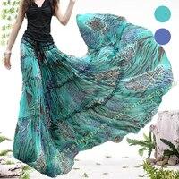 2019Summer Bohemia Casual Chiffon Tulle Splice Floral Printing Gypsy BOHO Pleated Beach Maxi Skirts womens / Female Long Plissee