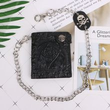 Vintage Skull Leather Wallet With Anti Theft Chain Men Bifold ID Credit Card Holder With Key Chain