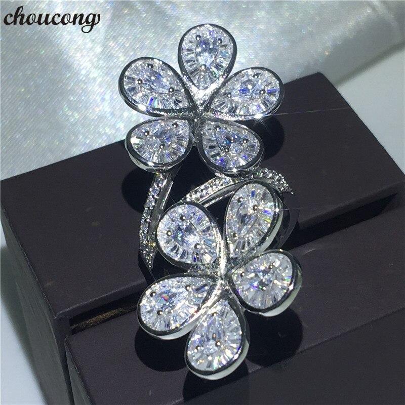 Choucong grande fleur de luxe bague 925 en argent Sterling AAAAA cz fiançailles bagues de mariage pour les femmes nuptiales fête doigt bijoux
