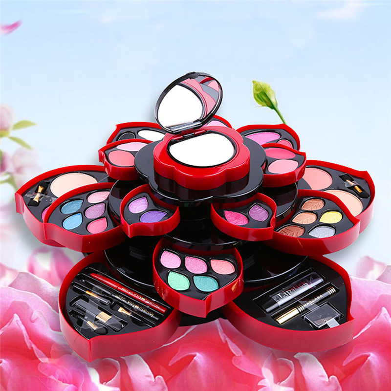 цена Miss Rose Flower Eye Shadow Palette Big Size Plum Blossom Rotating Set Beauty Eyeshadow Box Cosmetic Case Makeup Kit Maquiagem