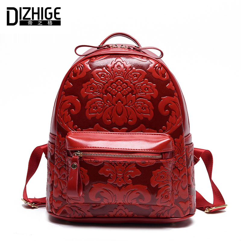 DIZHIGE Brand Fashion Chinese Style Women Backpack Designer PU Leather Backpack Women School Bags For Teenager Girls 2018 New 2017 women new fashion casual backpack new style nylon 3d galaxy printed school bags famous designer brand backpack for girls