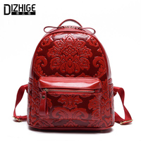 DIZHIGE Brand Fashion Chinese Style Women Backpack Designer PU Leather Backpack Women School Bags For Teenager