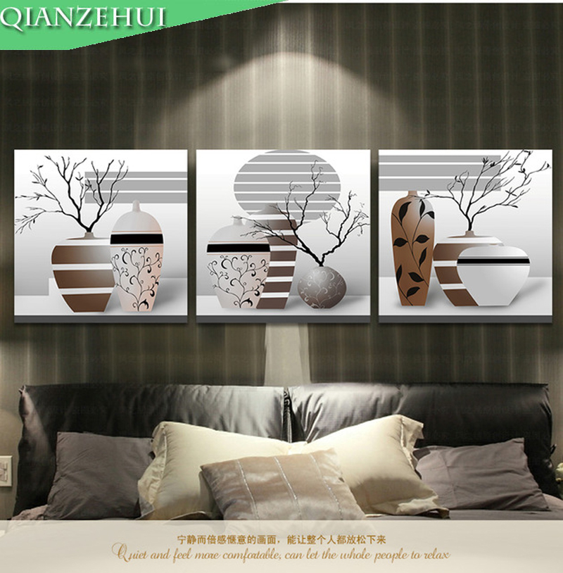 QIANZEHUI,3 D Needlework,DIY Art Vase Living Room Series  Triptych Paintings Cross Stitch, For Embroidery Kit Cross-Stitch
