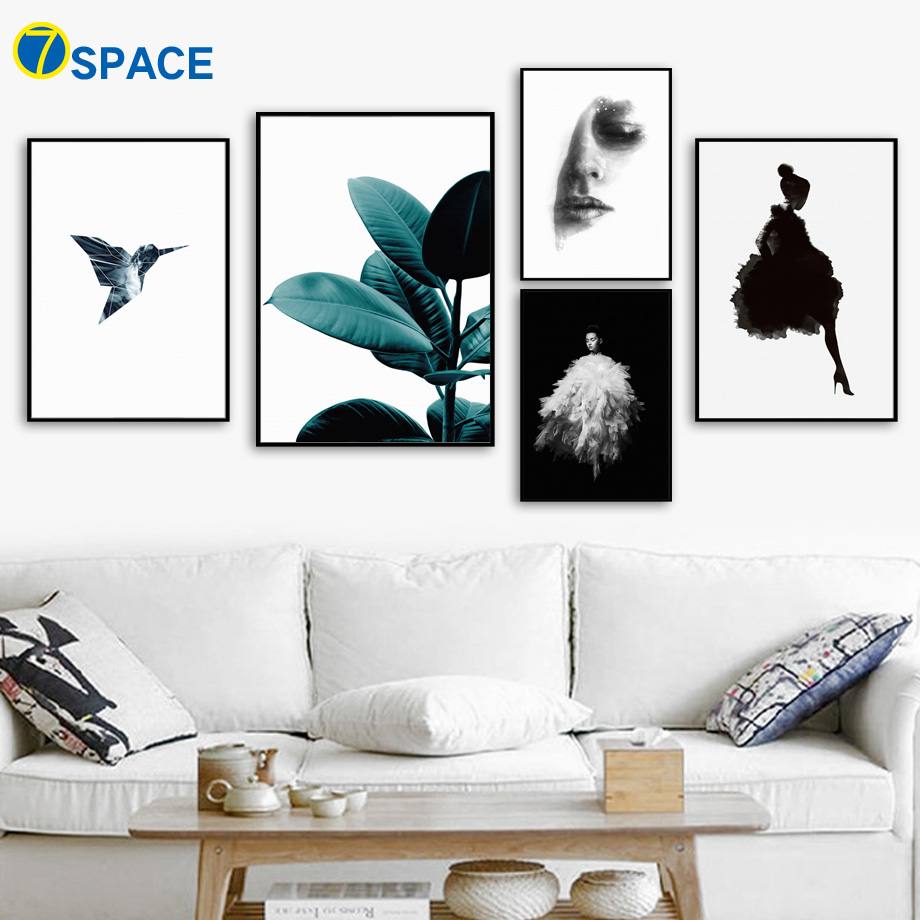 Girl Bird Green Leaves Wall Art Canvas Painting Nordic Posters And Prints Landscape Pop Art Wall Pictures For Living Room Decor