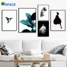 7-Space Nordic Beauty Girl FlowerCanvas Painting For Living Room Wall Pictures Black White Art Print Poster Decoration